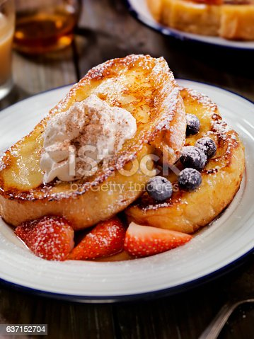 French Toast with Maple Syrup and Berries  -Photographed on Hasselblad H1-22mb Camera