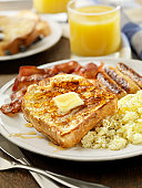 French toast with bacon and eggs