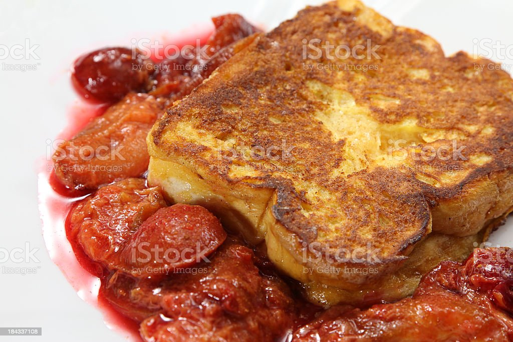 French Toast with Plums royalty-free stock photo