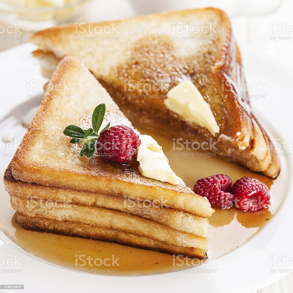 French toast with raspberries royalty-free stock photo