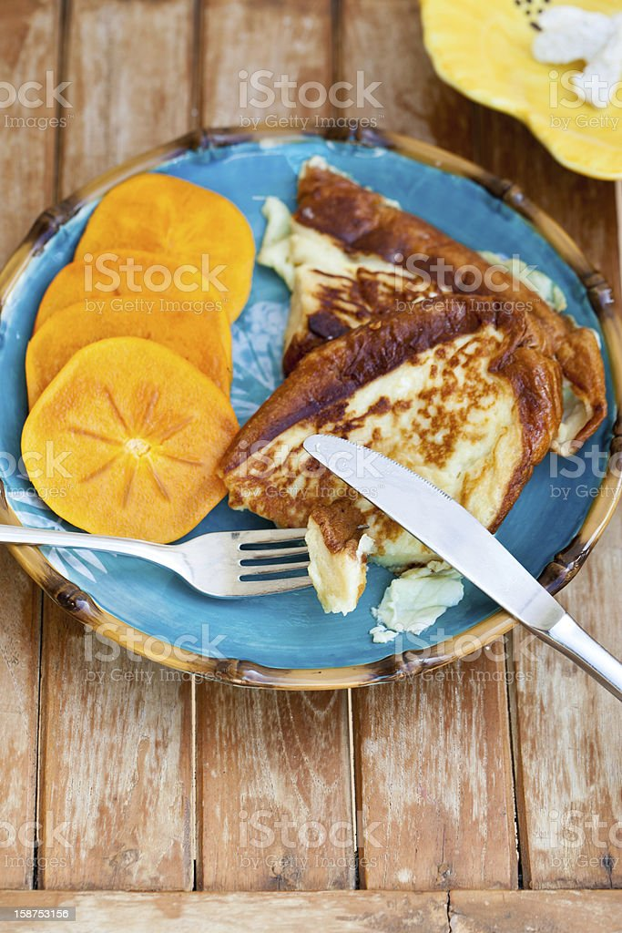 French toast with sliced persimmon. royalty-free stock photo