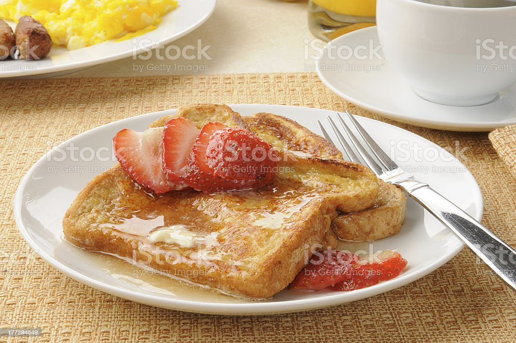 French toast with strawberries royalty-free stock photo