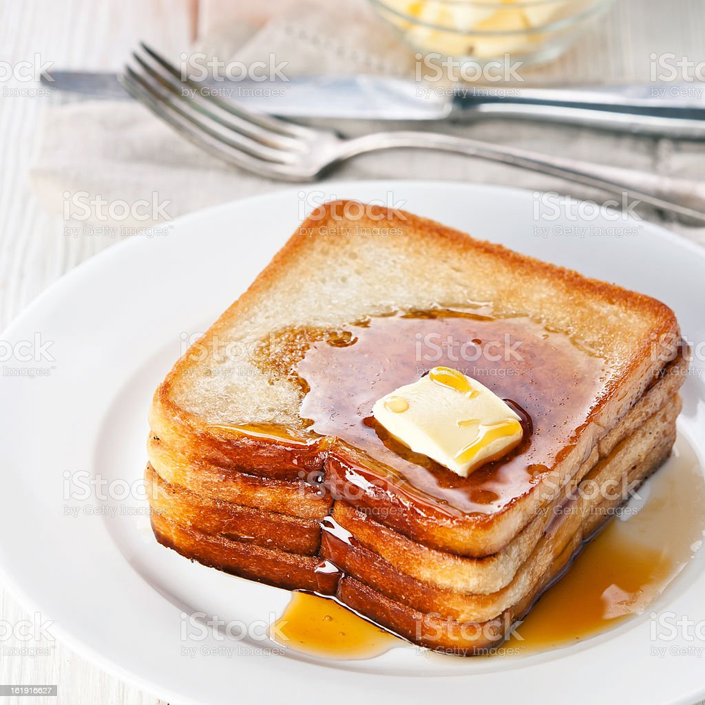 french toast with syrup and butter royalty-free stock photo
