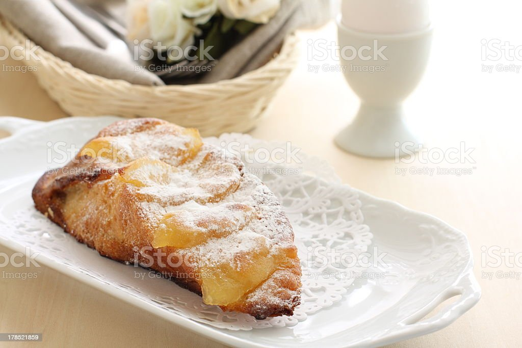 French toast with syrup apple on top royalty-free stock photo