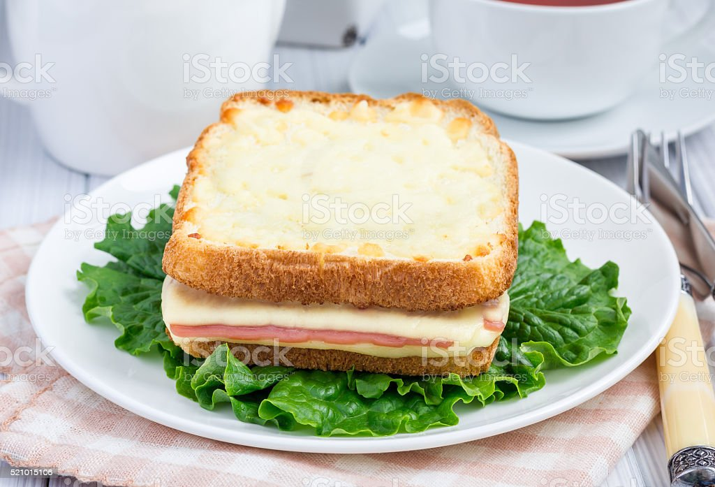 French toasted sandwich Croque monsieur stock photo