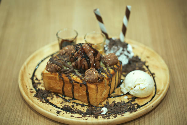 French Toasts with chocolates and ice cream stock photo