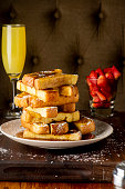Brioche French toast with ham and eggs