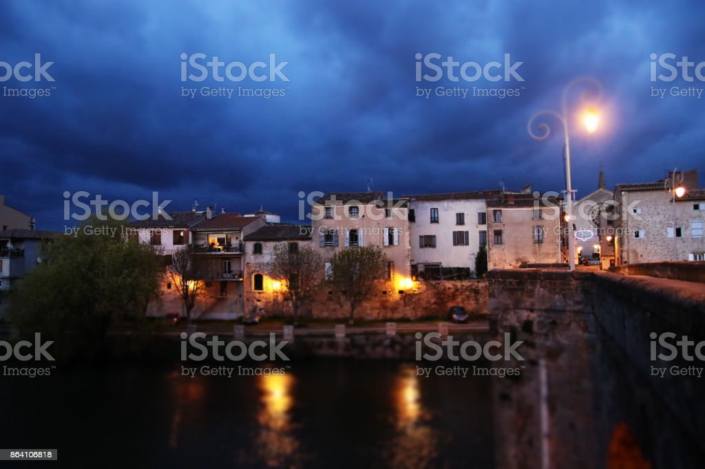 french town of Limoux and bridge over Aude river, France stock photo