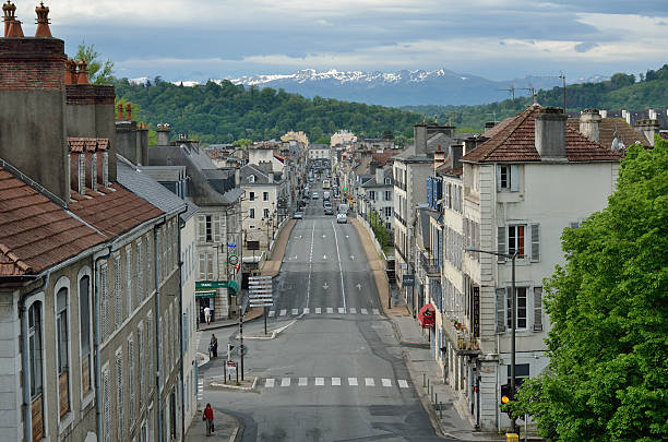 french town pau against the remote mountains - bearn stok fotoğraflar ve resimler