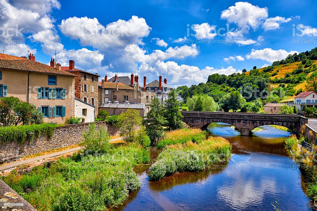French town with old lovely stonehouses stock photo
