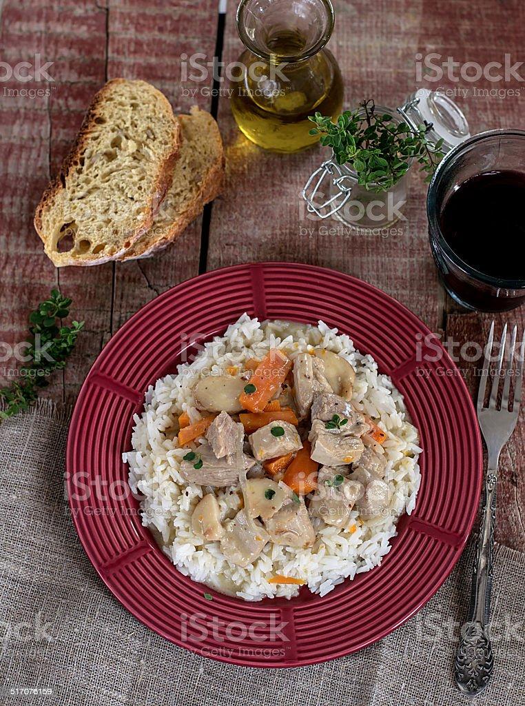 French repas traditionnel de veau Blanquette - Photo