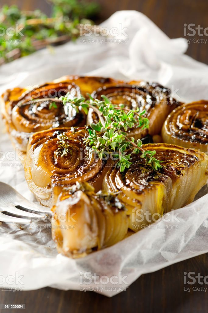 French traditional rustic onion Tarte tatin stock photo