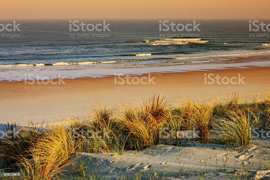 French travel background: Sunset at the beach of Mimizan Plage bildbanksfoto