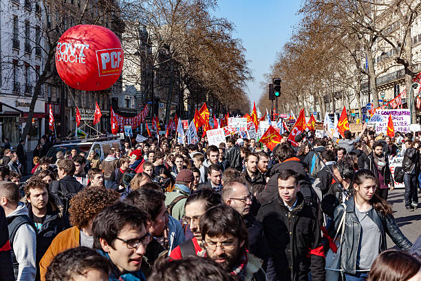 French unions and students protest against Khomri labor reform stock photo