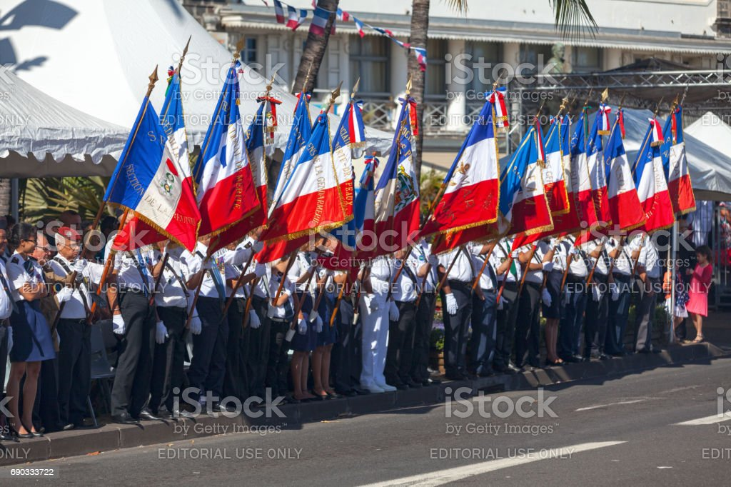 French veterans during Bastille Day stock photo