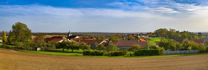 Colombey-les-Deux-Églises, France, October 21, 2020: Panoramic view of this French village in the Haute-Marne department. The former French president Charles de Gaulle lived and died in Colombey-les-Deux-Églises and is buried here.