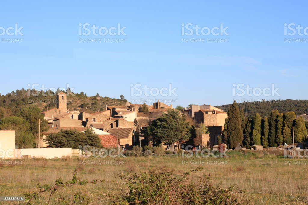 french village in Corbieres, France stock photo