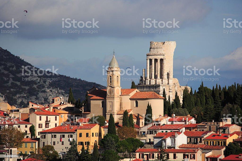 French village La turbie and Trophy of Augustus stock photo