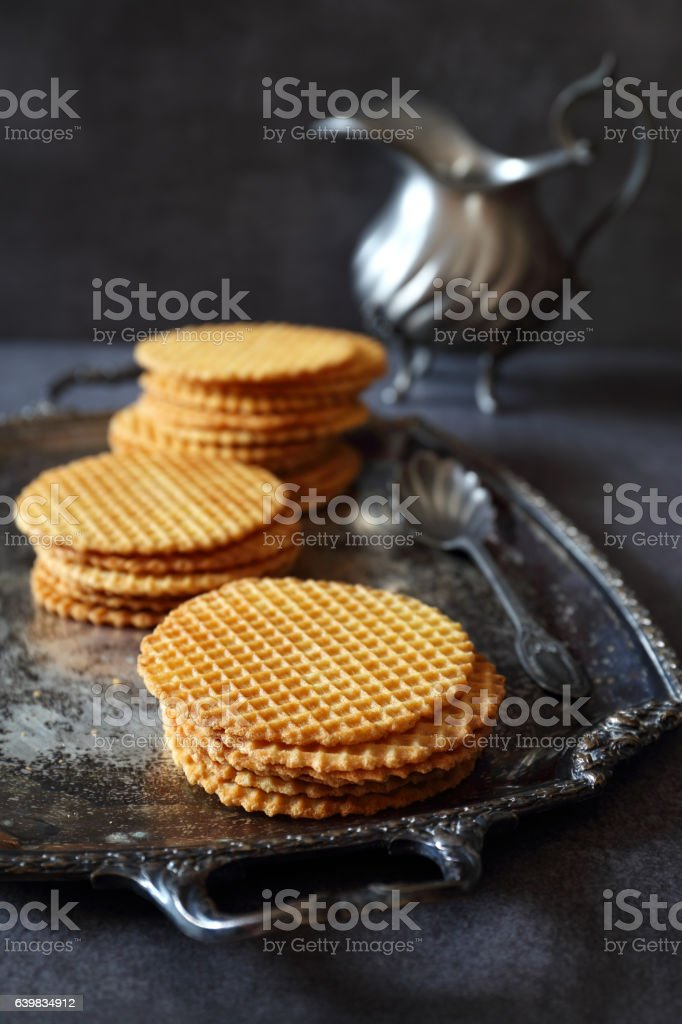 French waffles, traditional norman biscuit, dark photo stock photo