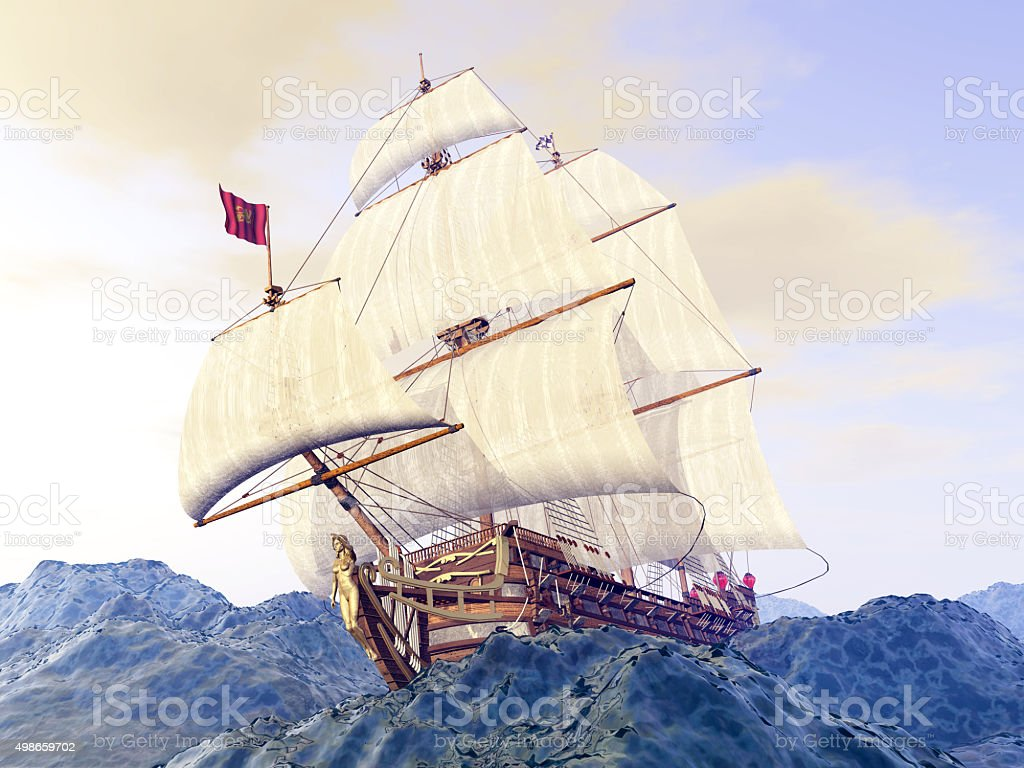 French warship of the 18th century in the stormy ocean stock photo