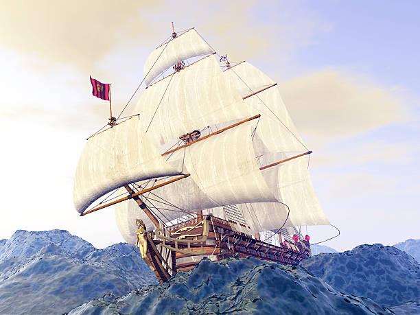 french warship of the 18th century in the stormy ocean - 18e eeuw stockfoto's en -beelden