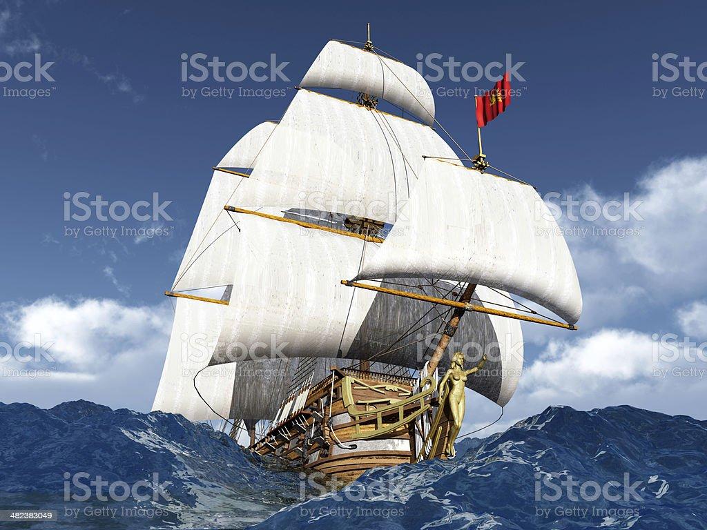 French Warship royalty-free stock photo