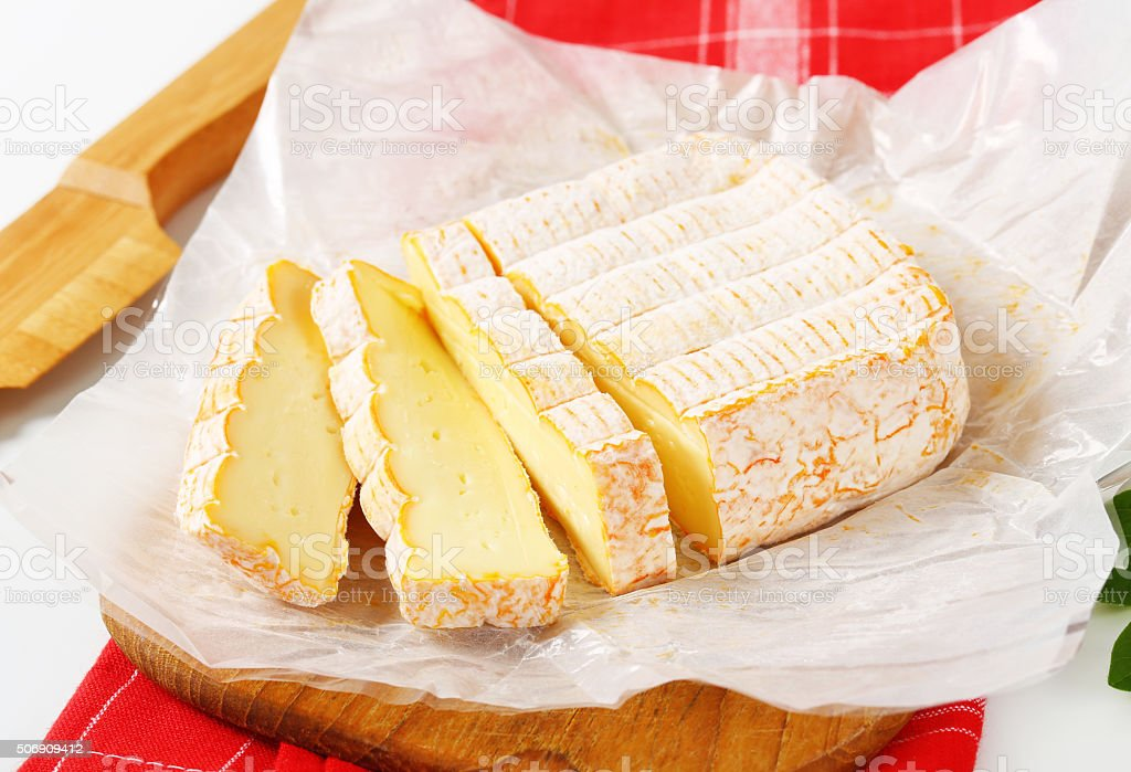 French washed rind cheese stock photo