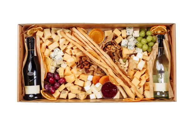 French Wine Cheese Carton Box Isolated Delivery stock photo