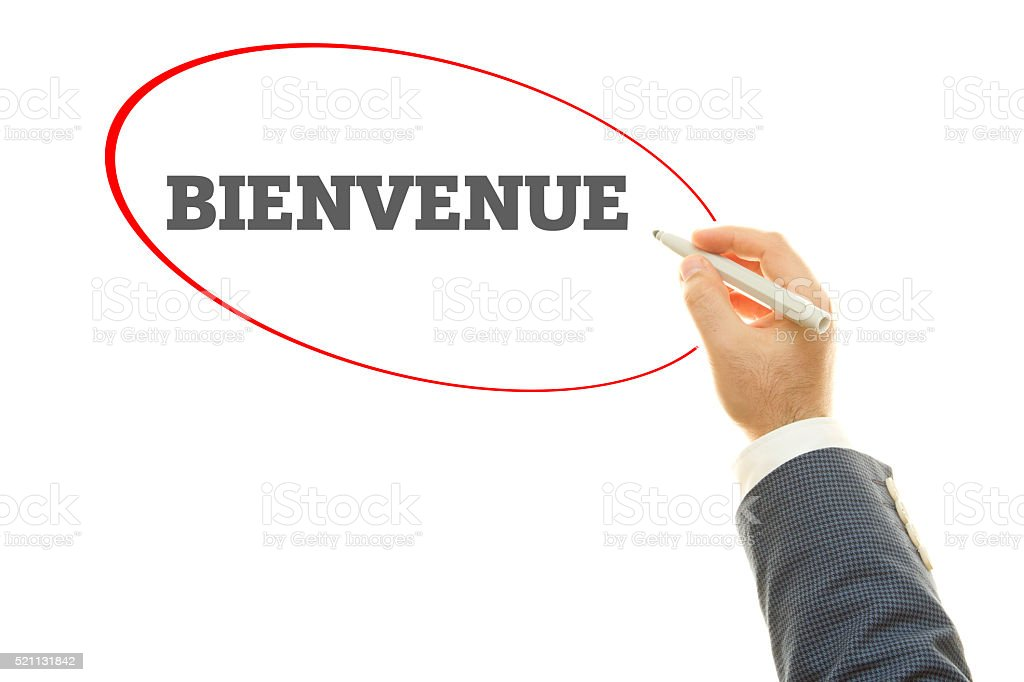 French Word Bienvenue Which Means Welcome stock photo