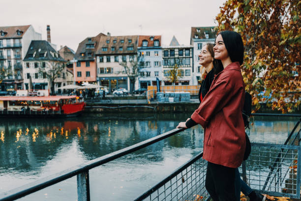 French youth on city break in Strasbourg French tourists on city break in Strasbourg strasbourg stock pictures, royalty-free photos & images