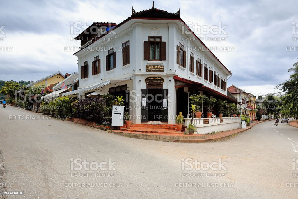 French-colonial building from 1939 at Kingkitsarath-Sipoutthabat roads corner. Luang Prabang-Laos.4429 stock photo