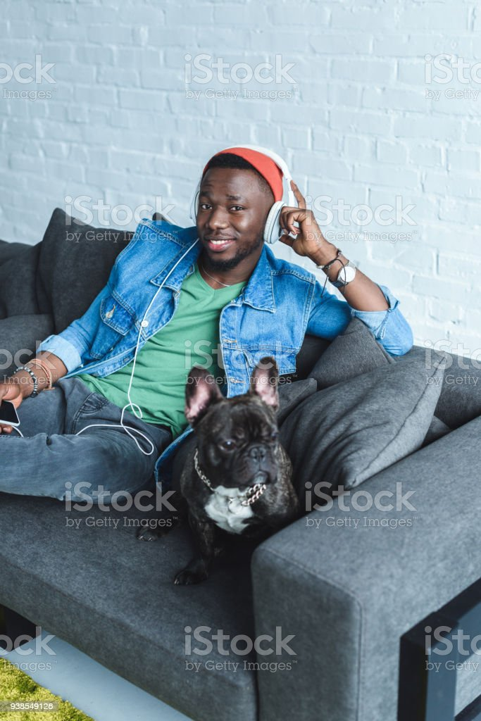 Frenchie dog on sofa sitting by African american man in headphones listening to music stock photo