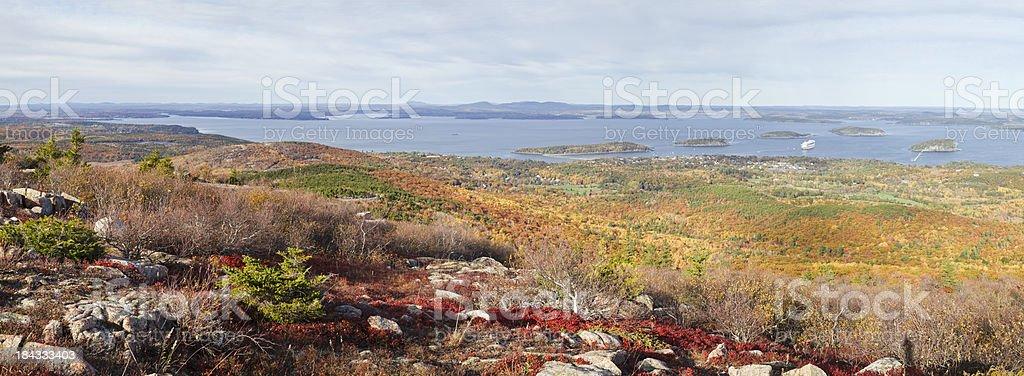 Frenchman Bay from Cadillac Mountain panorama, Acadia National Park stock photo