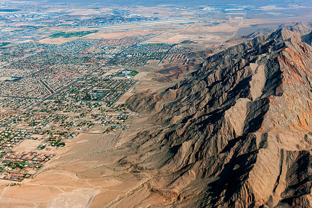 frenchman mountain and las vegas arial view usa - clark county nevada stock pictures, royalty-free photos & images