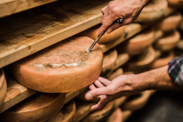 フランス人のプレミアム品質のチーズのサンプルを採取 - 熟した ストックフォトと画像