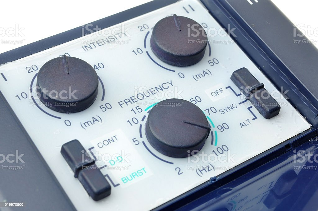 Frequency and Intensity button for Medical Treatment stock photo