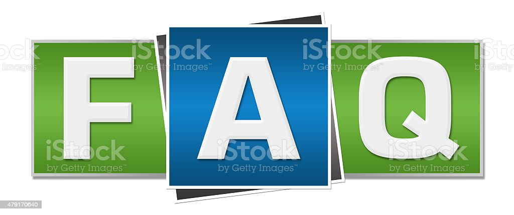 FAQ - Frequently Asked Questions Green Blue stock photo
