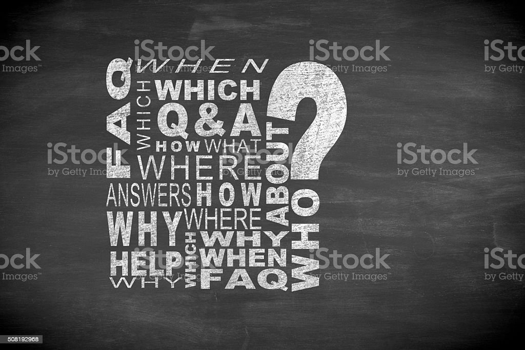 Frequently Asked Questions  word cloud on blackboard stock photo