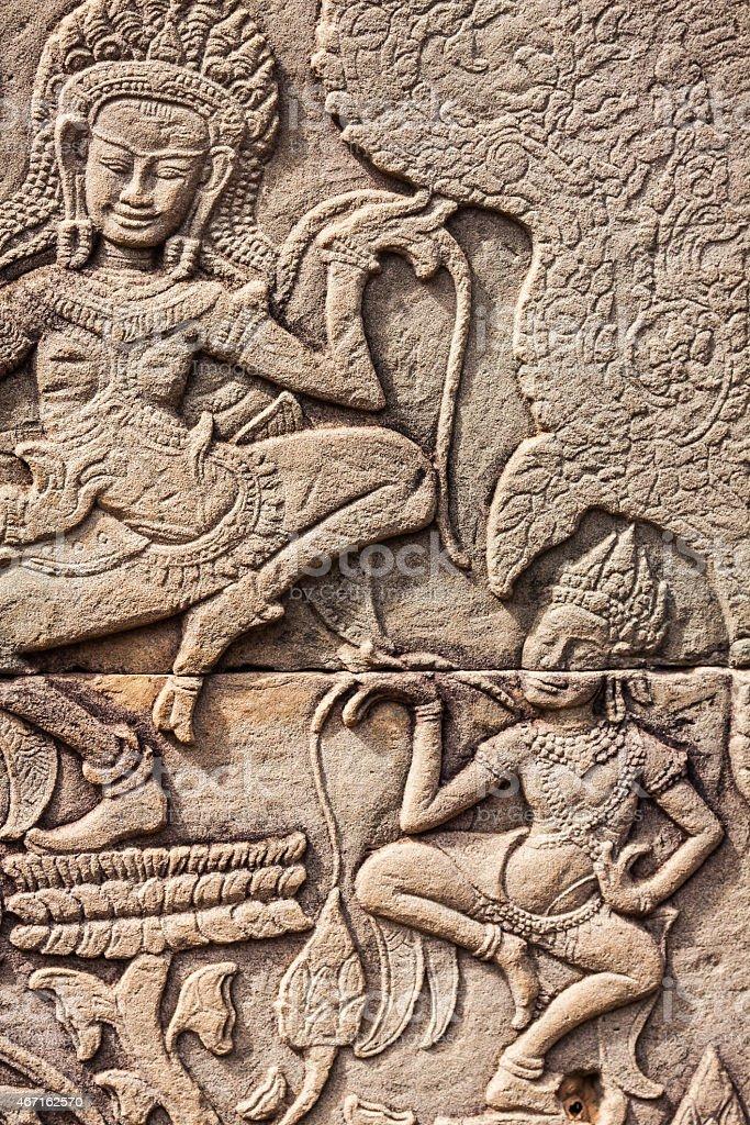Fresco Angkor Wat/ Angkor Thom. stock photo