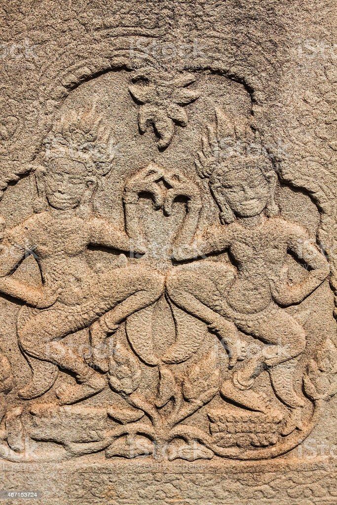 Fresco Angkor Wat/ Angkor Thom. The ancient ruins stock photo