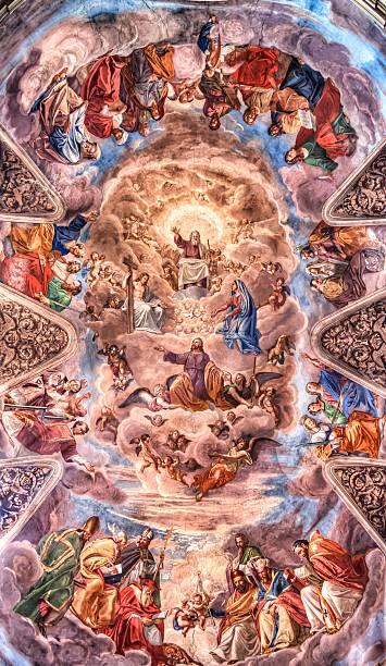 affresco der basilica dei santi ambrogio e carlo al - naive malerei stock-fotos und bilder