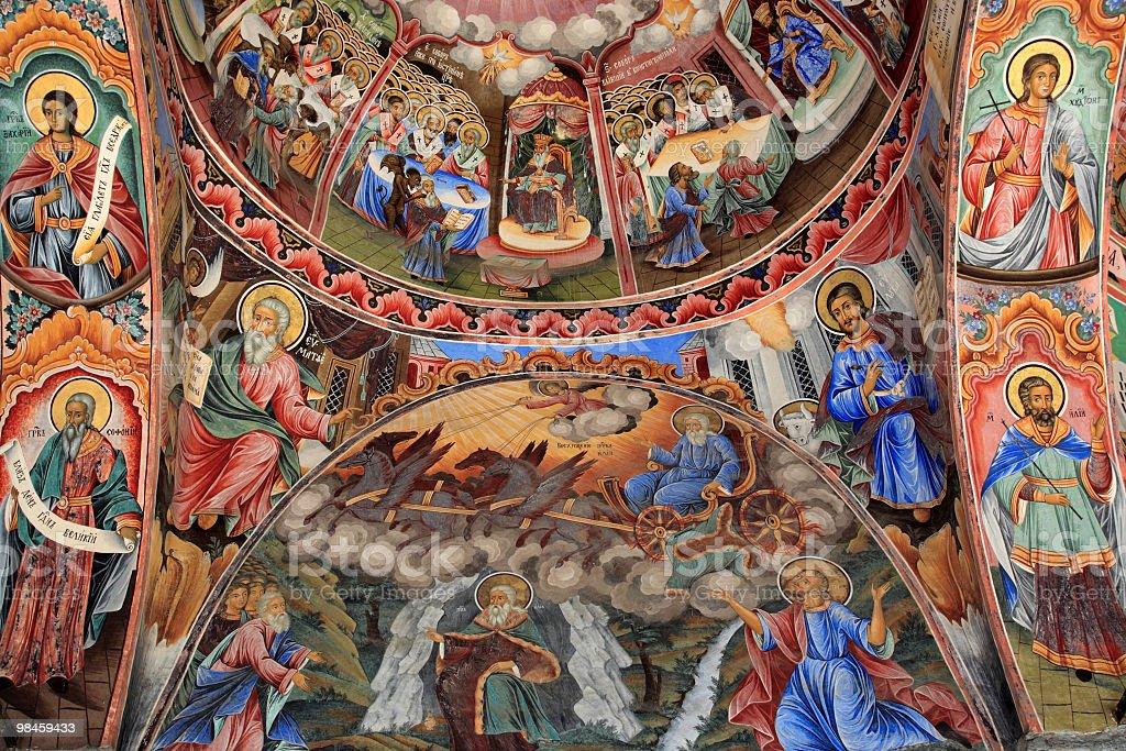 Fresco at the Rila Monastry Bulgaria royalty-free stock photo