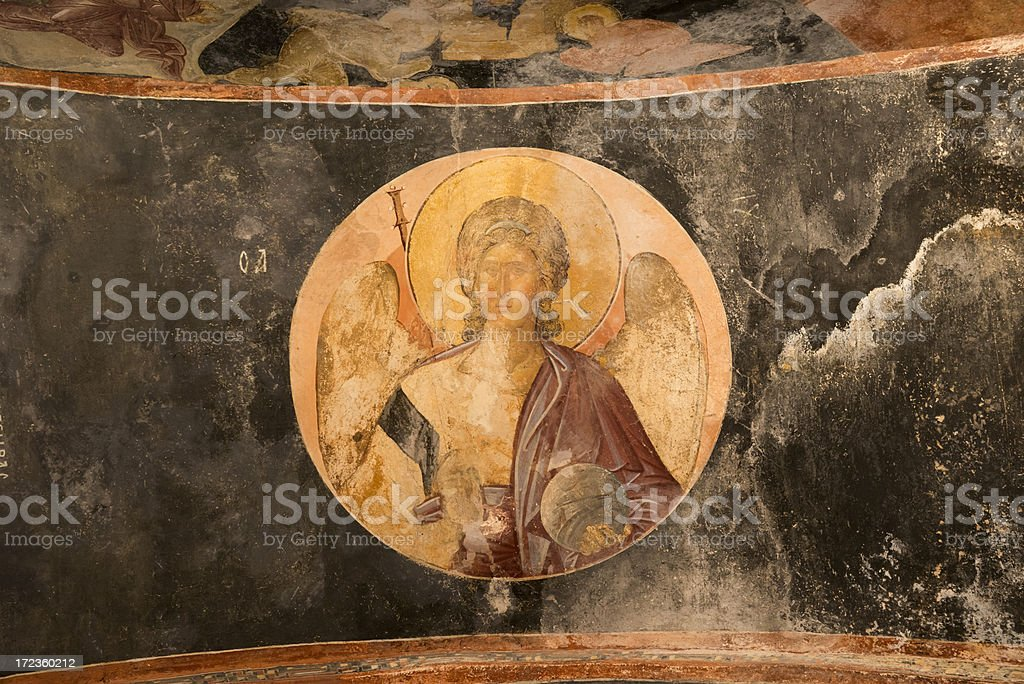 Archangel Michael fresco at Chora Church Istanbul stock photo
