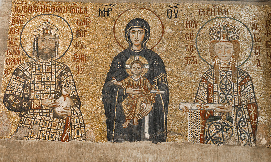 Fresco Emperor John II Komnenos and Empress Irene in Hagia Sophia, Istanbul, Turkey. For almost 500 years, Hagia Sophia served as a model for many other Ottoman mosques.