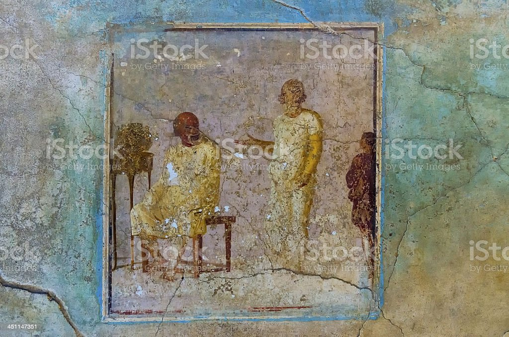 Fresco house in Pompeii stock photo