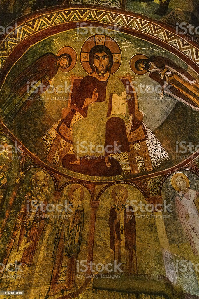 Fresco in cave church of Cappadocia royalty-free stock photo