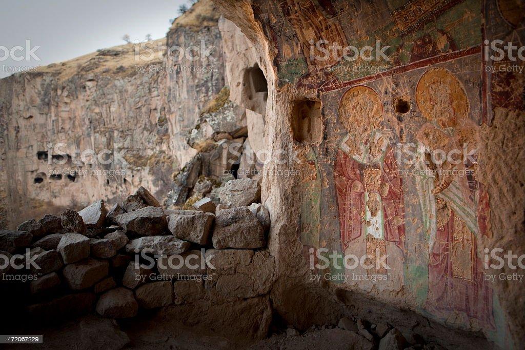 Fresco in Ilhara Valley and the Cappadocia Region of Turkey stock photo