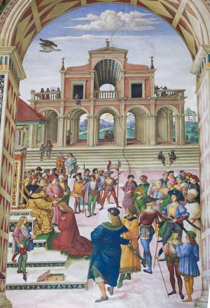 fresko in piccolomini-bibliothek, siena - malerei schuhe stock-fotos und bilder