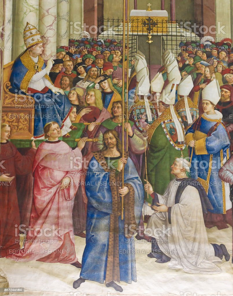 Fresco in Piccolomini Library, Siena stock photo