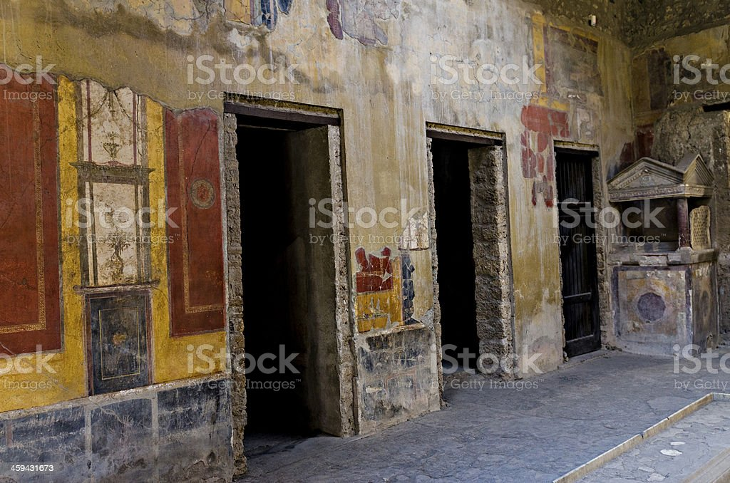 Fresco in Pompeii house royalty-free stock photo